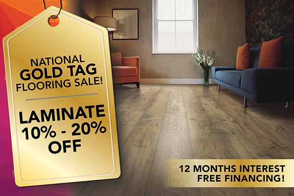 Laminate 10% - 20% Off during our National Gold Tag Flooring Sale