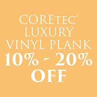 Take 10%-2-% off Coretec luxury vinyl plank flooring during our Fall Home Makeover Sale
